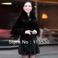 MINK FUR women's mink fur women's medium-long fox fur marten overcoat