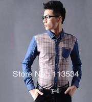 Men's clothing faux denim shirt plaid shirt long-sleeve shirt male with 3 colors choice  1pcs free shipping
