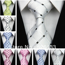 New 2014 Men Fashion Accessories Dot Geometric Check Jacquard Woven Business Silk Tie Necktie for Men Fashion White Black Red(China (Mainland))