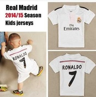 A+++ 7# Cristiano Ronaldo Kids Thai Kit 2015 Real Madrid HOME WHITE 14 15 Soccer Futbol Jersey Footbal Shorts Sports Suit