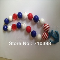 NA3012181 Christmas style chunky striped beads bubble gum kids anchor necklace free shipment 2pcs/lot