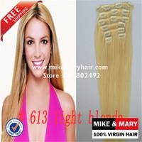 FREE SHIPPING Mike & Mary 1pc 70g Virgin human hair clip in hair extensions 5a Grade Brazilian human hair