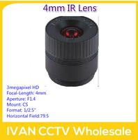 "3megapixel HD 4mm CS Mount F1.4 1/2.5"" CCTV Lens for High Resolution IR Camera for IP Camera DIY"