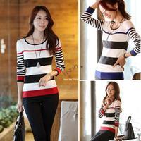 3pcs/lot Winter Fashion Woman Long Sleeve Stripe Thin Wool Sweater Pullover Dropshipping 19698