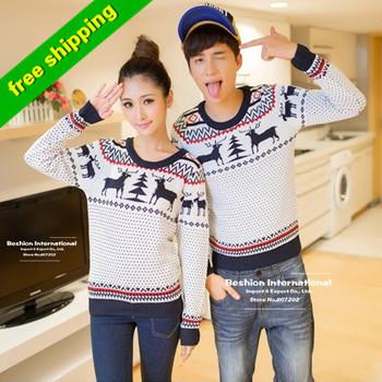 Высокое качество 2013 мода зима мужская / женщины с длинным рукавом вырез круглый воротник кашемировые пуловеры , соответствующие олень пара рождественские свитера