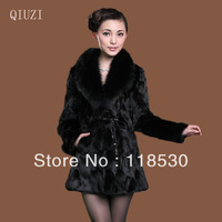Fur coat fox fur female 2013 medium-long plus size wild full leather rabbit fur