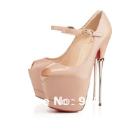 2014 New Women Sexy Peep Toe High Heels Pumps,Plus Size Red Bottom Ankle Strap Wedding Shoes Platform Iron Thigh High Heels