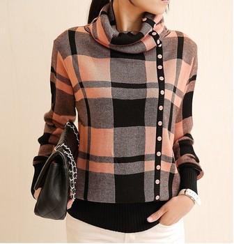 2014 Женщины's Модный classic plaid свитерs 5 Цветs turtleneck patchwork single-breasted ...