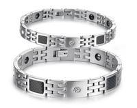 OPK JEWELRY Men's Magnetic Bracelet with Carbon Fiber Anti-fatigue Energy Balance 316L STAINLESS STEEL Bracelet Classic