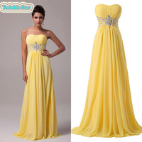 2014 New!Free Shipping Grace Karin Strapless Chiffon Celebrity Dress Floor-Length Long Prom Gown Evening Dresses CL6002