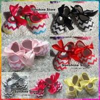Sunshine store #2B1922  6 pair/lot(7 colors) girl's wave Ballerina canvas Prewalker Soft Sole soft chevron baby crib shoes CPAM