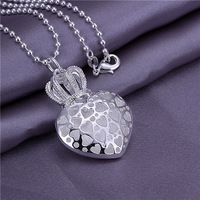 50pcs stering silver plated pendant for necklace WITHOUT CHAIN 925 stamped Crown Heart for necklace P051 free shipping