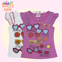 2014 summer kids girls t shirt children 2 color short sleeve T-shirt 100%net cotton printed glassest t shirts wholesale 6pcs/lot