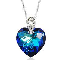 Women Titanic Ocean's heart 925 sterling silver crystal necklace pendant charms colgante pingente pendentif joyas Schmuck bijoux