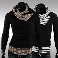 NEW 2014 Selling hit color stitching high collar MEN'S Casual pullovers sweater coat men knitted sweaters XXL
