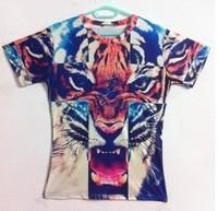 New 2014 fashion animal tiger leopard 3D printed T shirt men/women clothing 3d short sleeve top plus size