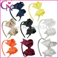 Dots Hair Bow Hairband For Girls Ribbon Hair Bow Headband For Kids Boutique Hair Bow Hair Band 16 pieces/lot CNHBD-1404223