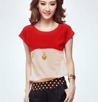 New 2014 stripe chiffion blouse short sleeve plus size casual camisas femininas blusas femininas free shipping