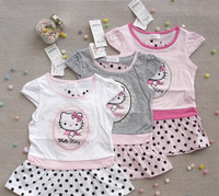Girl's suits Hello Kitty suits Girl's kitty cat design short sleeve T-shirt + dot Tutu dress suits