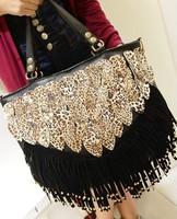Latest New 2013 Leopard Fringe Bag Ladies Big PU Leather Fashion Handbag Women Messenger Bag Long Tassel  Handbags Shoulder Bag