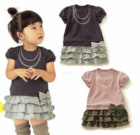 2014 girl dress, summer girl print dress brand,child 3 layers with bow and belt party chiffon floral girl dresses