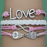 Hot sale 2014 NEW fashion blue or pink Vintage rope owl leather bracelet charm bracelet of infinity love