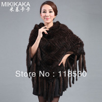 2013 autumn Women mink hair fur cloak cape medium-long hooded outerwear
