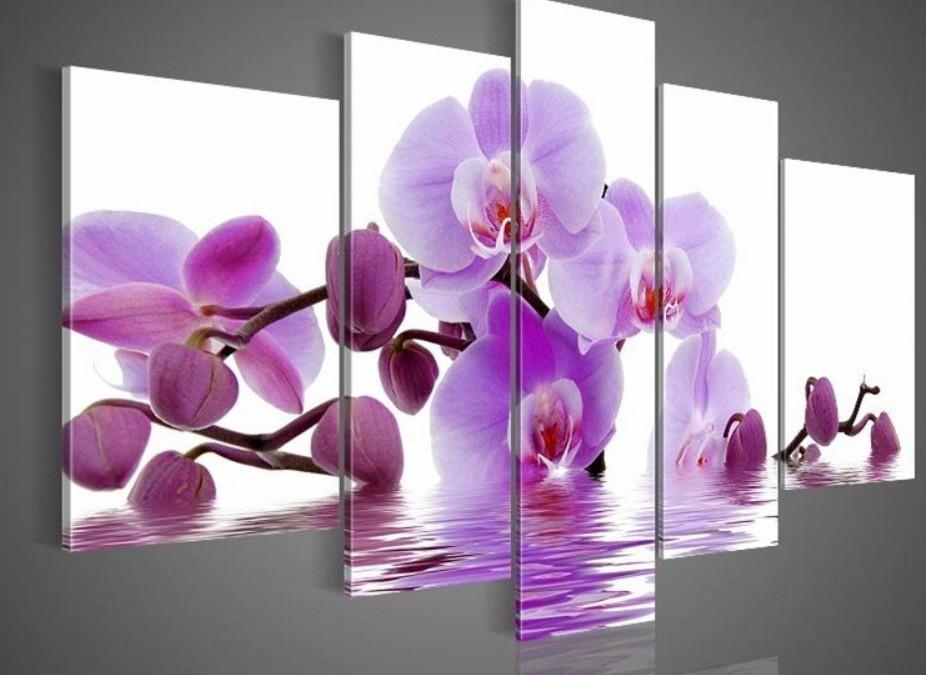 Mano- dipinto arte della parete fiori viola lato acqua decorazione della casa astratto paesaggio dipinto ad olio su tela 5pcs/set dy-023
