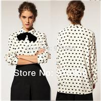2014 new black heart-shaped printed chiffon shirt women's blouses ladies tops/camisas femininas mujer ropa blusas de gasa/WOl