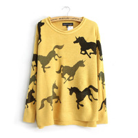 Fall 2014 new European and American women's wholesale unicorn sweater printed sweater bottoming female
