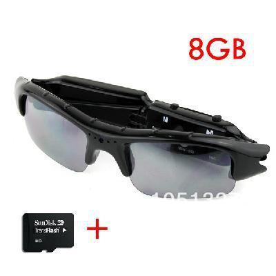 Video Sunglasses Mini HD DV DVR Camera Black + 8GB TF Card(China (Mainland))