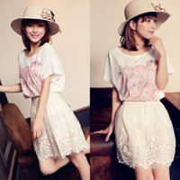 AK055 new arrival women fashion lace skirt  white princess knee-length Floral Skirt