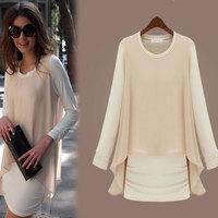 3866# Spring & Autumn European Style OL Plus Size Women's Casual Fake Two-piece Long Sleeve Bottoming Chiffon+Milk Silk Dress