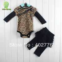 1piece baby clothing set 0-24 months infant clothing set 2 pieces long sleeves leopard Print rompers + culottes  TLZ-T0179A