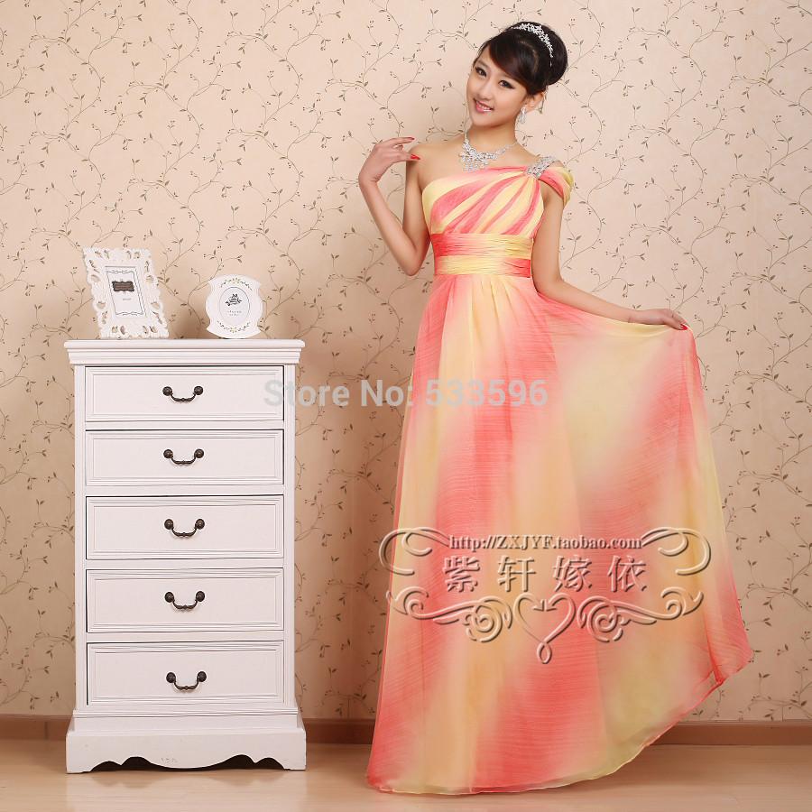 2015 new greek dress style melissa saias long design color formal rainbow gown elegant long yellow prom dress evening dresses(China (Mainland))