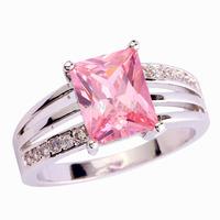 Wholesale Enjoyable Pink & White Topaz Silver Ring Size 9 Jewelry Fashion Ring For Women