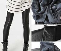 Trend Knitting Winter Women thickening velvet Super Warm pant Imitation leather PU slim stretch leggings[240215]