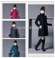 Fashion 2014 New Fashion Women's Wool Cashmere Winter Noble Long Trench Jacket Coat M Size-3XL Size Women Coats Winter # A0073