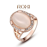 2015 HOT&NEWEST ROXI  Opal Rose Gold Plated Fashion Opal Ring for women,set with zircon crystal,fashion jewelry gold ring
