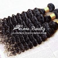 "Love Beauty Hair Human hair weave curly Malaysian virgin hair deep curly  3pcs/ lot 6A unprocessed virgin hair 8""-30""thick ends"