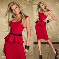 6 Colors New 2014 Knee Length Peplum Bodycon Dress Women OL Work Career Summer Dress Long Pencil Dress Plus Size M L 9052