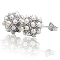 18KGP Mini Cute Pearl Ball Stud Earrings with 18K White Gold Plated Free Shipping