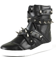 Fashion Brand Buckle Strap Rivet Sneakers High Top Hip-hop Studded Shoes Korean Fashion Men's Spike Boots S005