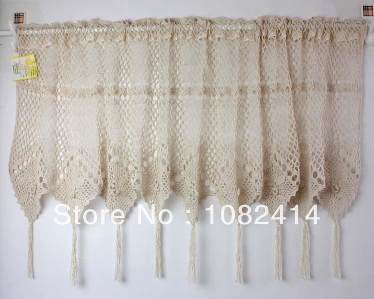 Crochet Valance : Handmade crochet valance , cafe cutrain, 3D flowers, tassels ,100% ...