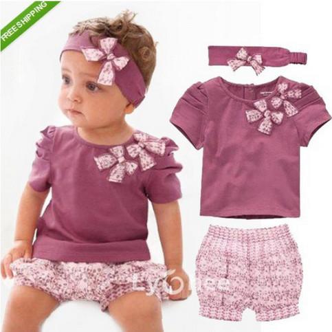 Baby Girl Summer Clothing Set Children Bowknot Flower Print Tshirt Pant Headwear 3 Pieces Set 2014 Fashion(China (Mainland))