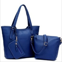 2014 new arrival winter and autumn leather handbag women leather shoulder 3 piece suit  lash package