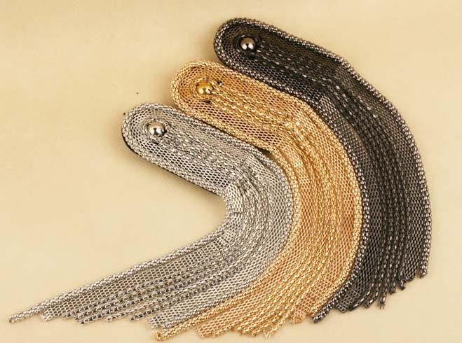 New Arrival! wholesale vintage PUNK cool silver gold black long tassel brooch / epaulet / epaulette / shoulder loop(China (Mainland))