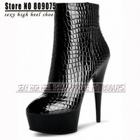 Free Shipping 6 inch high heels Platform ankle boots women Crystal shoes 15cm Spike Heel winter boots sexy punk motorcycle boots