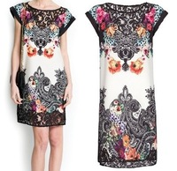 M fashion dress women 2014 spring vestido Brand casual Print lace patchwork dress SD2052