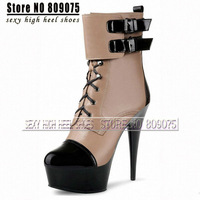 Fashion Buckle Beige Ankle Boots Winter 6 Inch High Heel Platform Boots Women Crystal Short Boots Color Block Pole Dancing Boots
